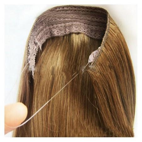 Peluca cabello sintético largo Castaño